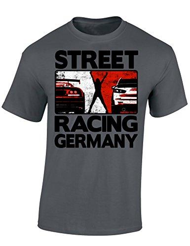 Baddery Petrolhead Industries: Street Racing Germany - Auto Shirt - Geschenk für Autoliebhaber - T-Shirt für Alle Tuning-, Drift-, und Motorsport Fans (XL)