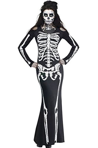 Honeystore Damen's Karneval Mottoparty Skelett Kostüm für Halloween Schwarz One (Halloween Selbstgemacht Schlumpfine Kostüm)