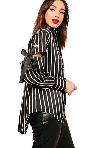 Noir Femmes Chemise rayée à œillets et détails Zoe Noir