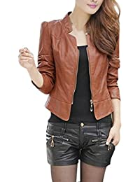 BOBORA Donna PU Leather Abiti Cappotto Slim Motorcycle Leather Zipper Giacca 9234b0bd434