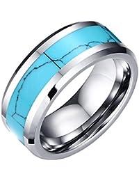 UM joyería Clásico Hombres Tungsteno Acero Anillos Plata Azul Dos tonos Banda 8mm