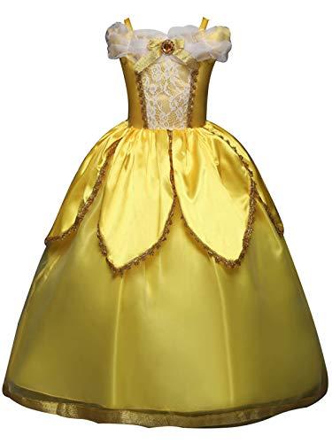 FStory&Winyee Mädchen Prinzessin Kostüm Belle Kleid Kinder Karneval Verkleidung Party Weihnachten Fasching Cosplay Märchen Maxikleid Bodenlang Ballkleid Abendkleid Gelb 110-150