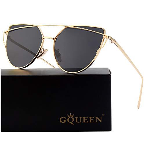 GQUEEN Mode Polarisierte übergroße Katzenaugen CatEye Sonnenbrille Damen Frau Metallrahmen Cat Eye Sunglasses MT3