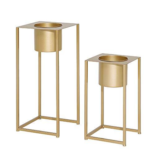 FUFU Tables Set 2 jardinières en laiton doré avec support pots de grande taille avec supports en métal décor de salon de pot de fleur pour orchidée, aloès, grandes plantes de cactus Table à feuilles m