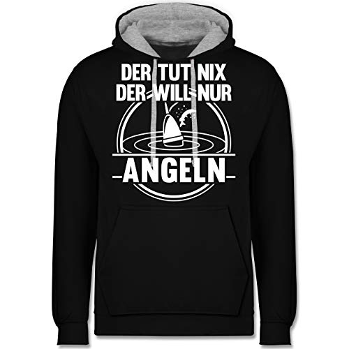 Shirtracer Angeln - Der TUT nix der Will nur Angeln - XL - Schwarz/Grau meliert - JH003 - Hoodie zweifarbig und Kapuzenpullover für Herren und Damen