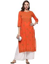 RAJMANDIRFABRICS Women's Cotton Straight Hand Block Printed Kurti (Orange)