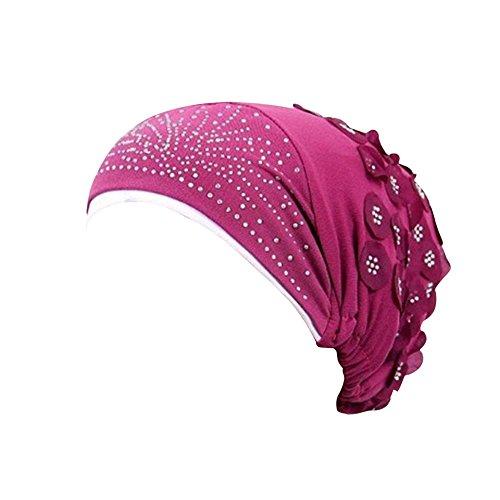 t Muslim Stretch Turban Chemo Cap Haarausfall Kopftuch Wrap Hijab Elegante Stange Gefaltete Kopf Schal Krebs MüTze HäKeln Beanie Slouchy Unisex Caps StrickmüTze(Pink,Freie Größe) ()
