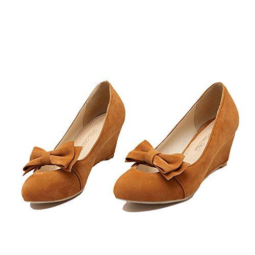 ENMAYER elegante da donna, in pelle, tacco medio, pompe Slipsole scarpe con papillon Giallo (giallo)