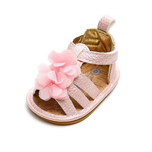 Scarpe Primi Passi Bambini, Scarpine Neonata Confortevole Morbido e Anti scivoloso Bimba Sandali con Bella Fiore (12-18 Mesi 13cm=5 1/8in, A-02)