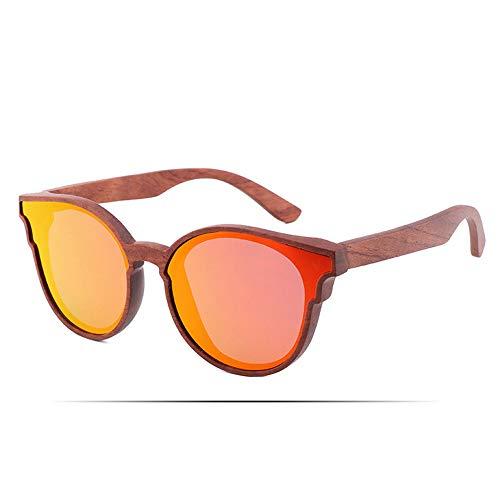 LiyuAI Sonnenbrillen für Damen Vintage Persönlichkeit, Damen Holzrahmen Sonnenbrille, handgefertigte Holz gläser