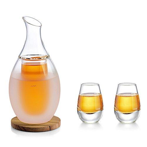 Sake Set, Dekanter Rotwein, Sake Becher, Dekantierflasche Set aus Borosilikatglas mit 2 Tassen, 1x Untersetzer, 1x Baumwolltuch, für Geschenk Sake Wein Soju Whisky alle Getränke kalt oder warm halten Sake-becher-set