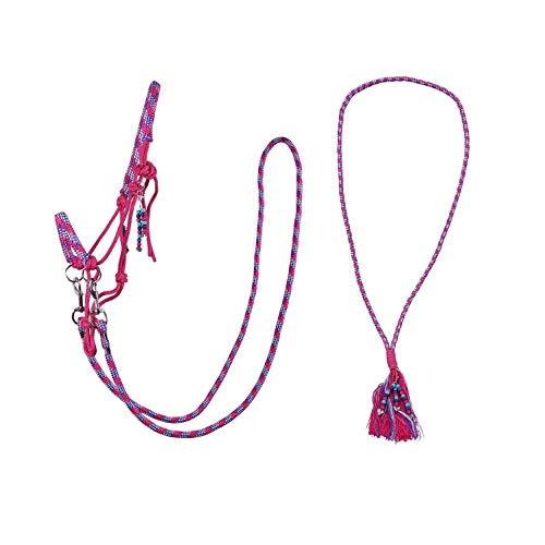 netproshop Pferd Zubehör Knotenhalfter Set mit Zügel Halsring und Anhänger, Groesse:Cob, Farbe:Pink