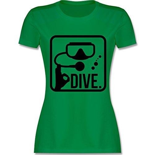 Wassersport - Dive. - tailliertes Premium T-Shirt mit Rundhalsausschnitt für Damen Grün