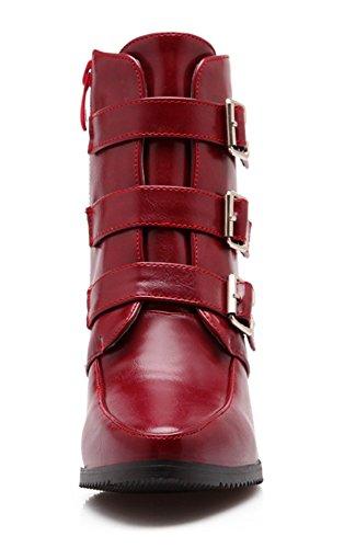 YE Damen Chunky High Heels Spitze Plateau Stiefeletten mit Blockabsatz Schnallen Reißverschluss Herbst Winter Short Ankle Boots Schuhe Weinrot