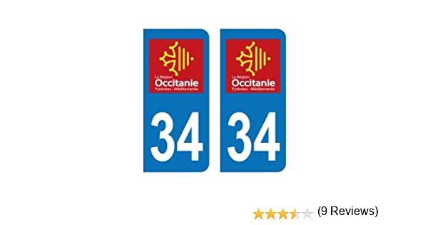Zone-Stickers 2 Autocollants Plaque Immatriculation 34 Occitanie H/érault Arrondis