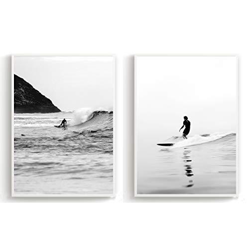Flanacom 2er Set Design Poster Schwarz Weiß Skandinavische Deko Kunstdruck auf A3 Premiumpapier - Motiv Surfer Welle (ohne Rahmen)