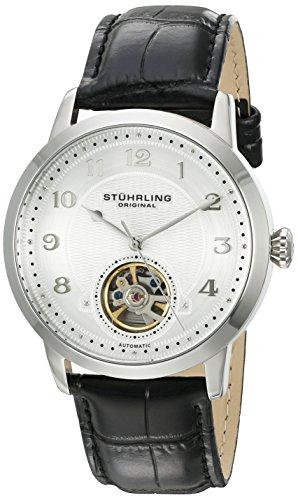Stuhrling Original - Perennial - 781.01 - Montre bracelet - Automatique - Affichage - Analogique - Bracelet - Cuir - Noir - Cadran - Argent - Homme