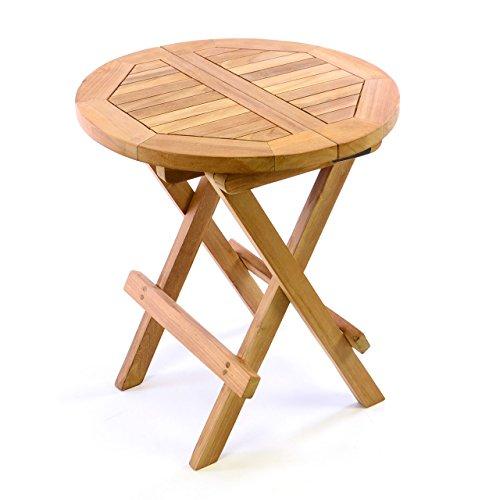 Divero DIVERO Kindertisch Beistelltisch Balkontisch Teak Holz Tisch für Terrasse Balkon Garten - wetterfest klappbar behandelt - Ø 40 cm natur-braun