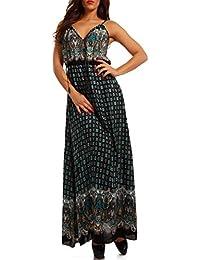 Damen Maxikleid Kleid mit Träger Allover Print, Farbe:Beige/Paisley;Größe:One Size