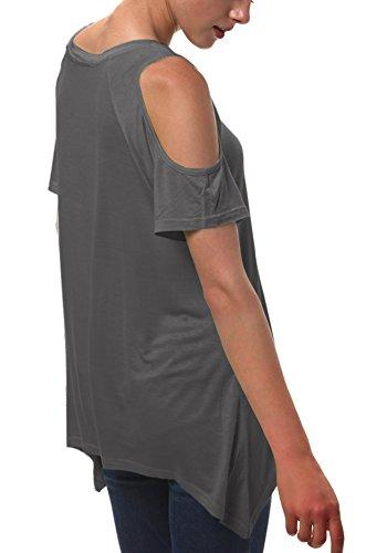Urban GoCo Donna Camicia Spalla-Off Tunica Tops Orlo Irregolare Moda T-Shirt Grigio scuro