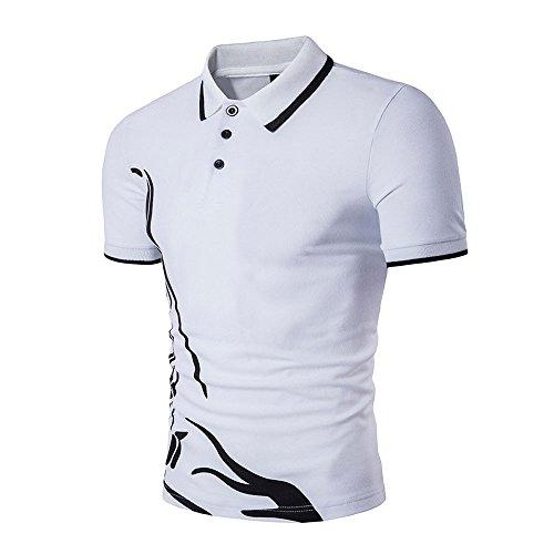 DAY.LIN T Shirts Männer Herren Neue Heiße Männer Schlank Sport Kurzarm Casual Polo Shirt T-shirts T-Tops (Weiß, M=EUS) (Kurzarm-anzug Baumwolle)