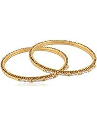 Allure International Gold Metal Bangle Set For Women, Set Of 2 - B078JYZ5LM