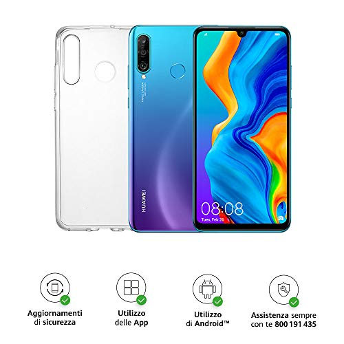 huawei p30 lite (blue) smartphone + cover trasparente, 4gb ram, memoria 128 gb espandibile, display 6.15 fhd+, tripla fotocamera posteriore da 48+8+2 mp, fotocamera anteriore 24 mp [italia]