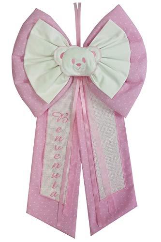 Fiocco nascita rosa fiocco da ricamo punto a croce