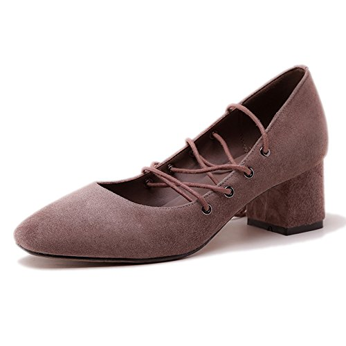 Damen Pumps Criss Cross Blockabsatz Fellsamt Riemen Schnürschuhe Rutsch Braun