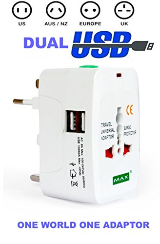 Max UNIVERSAL TRAVEL ADAPTOR WITH 1000mA TWO USB PORT