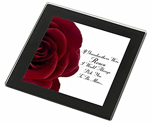 'If Grandmothers Were Roses' Glass Coaster with Black Rim,