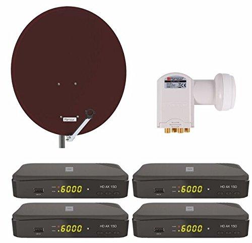 Opticum Digitale 4 Teilnehmer Satelliten Komplettanlage (Opticum HD AX 150 Digitalreceiver , Quad-LNB, QA 80 cm Antenne, Stahl) Ziegelrot