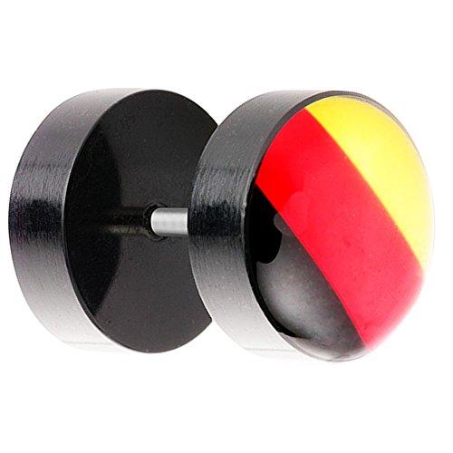 Piersando Ohrstecker Ohrringe Piercing Fake Ohr Plug Flesh Tunnel Fahne Motiv Fussball EM & WM Fanartikel Land Flagge Schmuck Deutschland 10mm