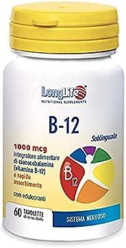 B-12 1000 mcg LongLife   Integratore di vitamina B12   Formula esclusiva sublinguale   Rapido assorbimento   A