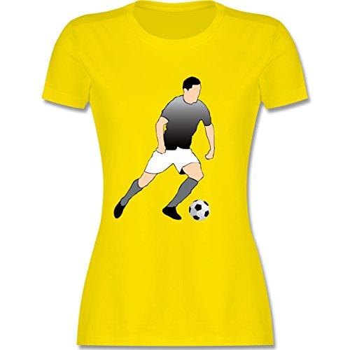 Fußball - Fußballspieler Stürmer Ball Sprint - tailliertes Premium T-Shirt mit Rundhalsausschnitt für Damen Lemon Gelb