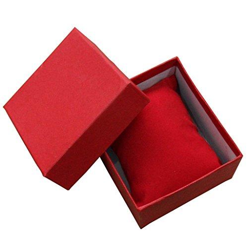 Kcopo Geschenk Boxen Armbanduhrbox Quadratischer Schmuck Box Hochwertige Geschenkbox Für Armband-Ring Ohrringe Armbanduhr 1 Stück Rot