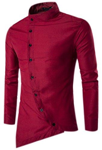 Camicie uomo slim fit maniche lunghe casual camicia top camicetta shirt moda men camicia abito fantasia asimmetrica shirts rosso l