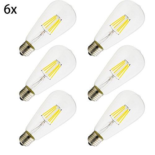 E27 LED, ST64 ,Energiesparlampen,umweltfreundlich,6 W Lampe , vergleiche 50 W Glühlampe ,360 Lumen,AC 220V, warmweiß ST64, Lampe Kristallklares Glas,6 Stück
