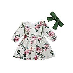 Kleinkind Baby Mädchen Kleid Langarm Blumen Prinzessin Kleid Haarband Outfits Mädchen Outfits Solide Tops