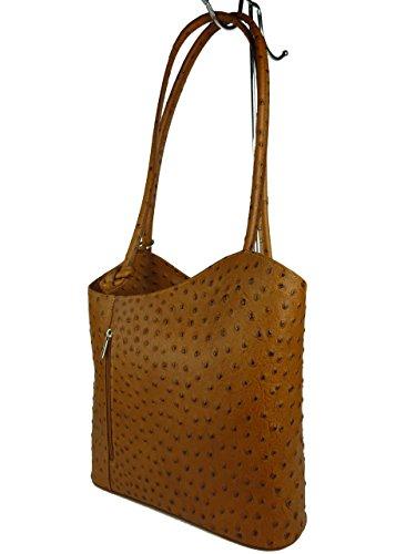 GIADA PELLE 865-6 Rucksacktasche, Damen Leder Handtasche in Straußenleder Optik 27 x 26 x 11 cm (braun Camel) - Straußenleder Handtasche