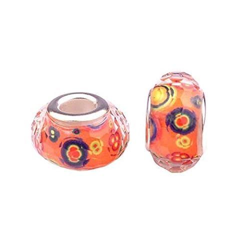 Bling Stars Daisy Flower Lampwork Murano Glass Bead Fits Pandora Charms Bracelet