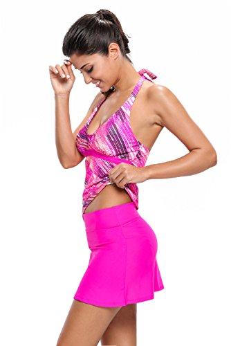 ILFtrend Damen Neckholder Tankini Mehrfarbig Streifen Two Piece Mit Skort Bottom Set Bademode Swimsuit Rosig