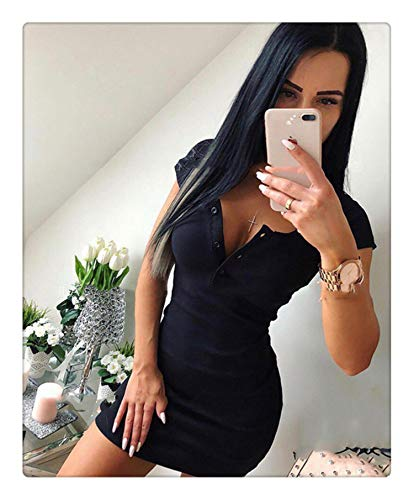 Summer Dress 2018 Fall Women Sexy Knit Sheath Mini Dresses Ladies Solid V Neck Chest Button Short Sleeve Bodycon Dress Black S