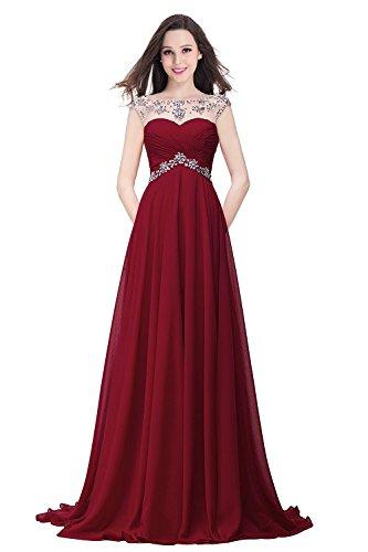 Damen Elegant Chiffon Abendkleider lang Ballkleider Abschlusskleider Lang Weinrot Gr.42
