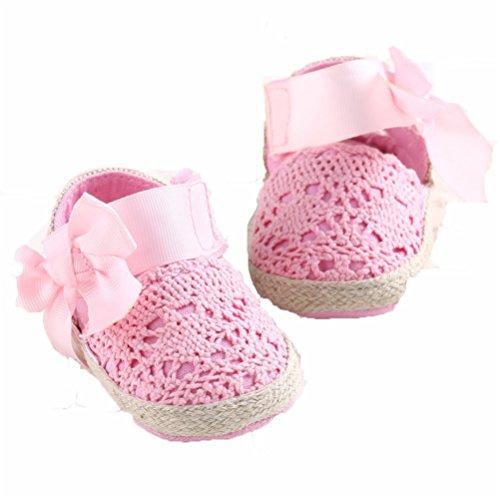 en, Neugeborenen Baby Fliege Crochet Krippe Schuhe Anti-Rutsch-Weiche Sohle Baumwolle Lauflernschuhe (11cm/0-6 Monat, Rosa) ()