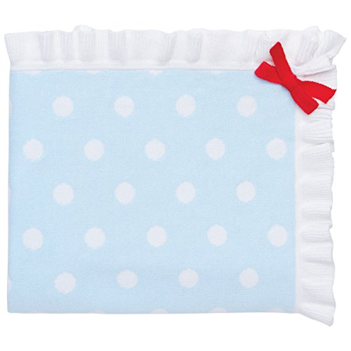 Elegant Baby 100% Cotton Sweater Knit Blanket, Blue with Polka Dots and Red Ribbon Accent, 30 X 40 by Elegant Baby - Accent Sweater