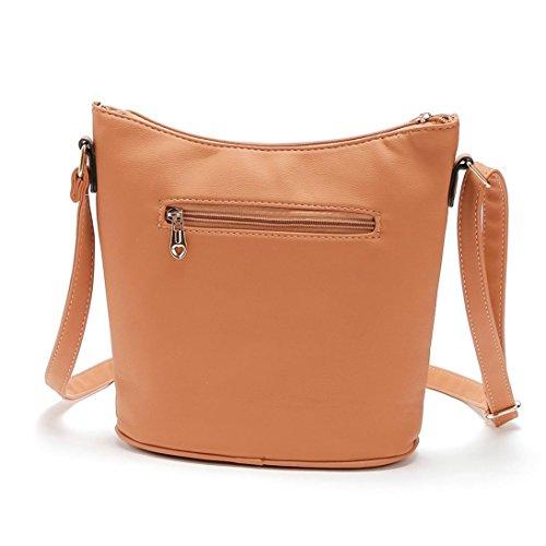 Hollow Out Borsa A Tracolla, Donna In Pelle Borsa Borsetta Croce Corpo Hollow Out Borsa Messenger Bag by Kangrunmy Giallo