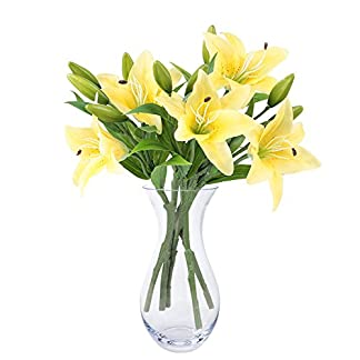NNIUK lirio Flor artificial Ramo de la flor del lirio para el partido / el hogar / la oficina / la boda / los sepulcros / los floreros (5Pcs)