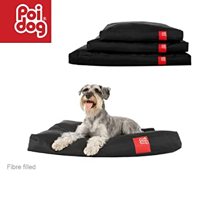 Poi Dog® Medium Dog Bed - BLACK Poly Canvas Duvet Dog Beds - Medium / Small Dogs (34)