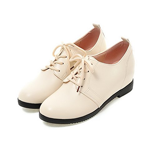 Voguezone009 Mujeres Shimmer Pure Lace-up Punta Redonda Talón Medio Ballet-flats Beige
